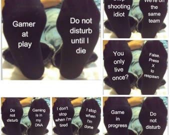 Gamer novelty socks, Christmas gift, stocking filler, funny socks, gift for him, son, computer gamer, Techy gifts, gift for gamer, teenager