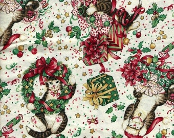 The Joys of Christmas Cats with Gifts Robert Kaufman Fabric