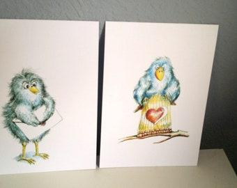 birds (2 postcards)