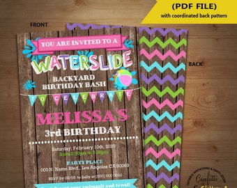 Waterslide birthday bash invitation backyard summer pool party wood girl invite Instant Download YOU EDIT TEXT & print yourself invite 5295