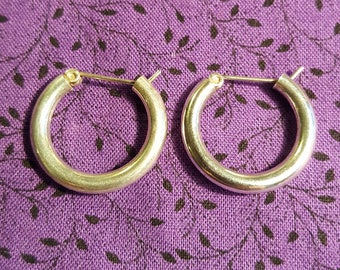 Small Vintage Sterling Silver Hoop Earrings