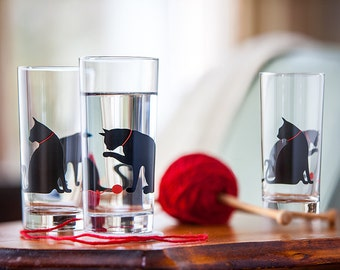 Set of 4 Cat and Yarn Glasses - Drinking Glasses, Water Glasses, Cat Glasses, Cat Glassware, Cats, Cat Glass, Cat Lover, Drinkware