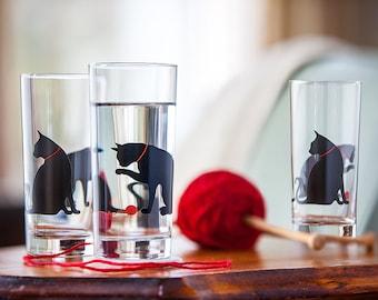 Cat Lover Gift, Set of 6 Cat Glasses - Drinking Glasses, Water Glasses, Cats, Cat Glassware, Cat Glass, Cat Lover, Drinkware