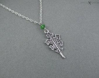 Ranger's Apprentice Oak Leaf Charm Necklace - Silver Charm