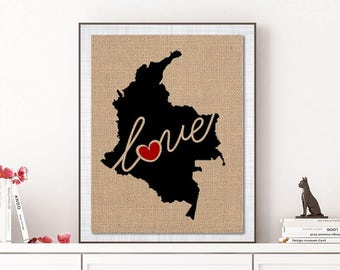 Columbia Love - Burlap or Canvas Paper State Silhouette Wall Art Print / Home Decor (Free Shipping)