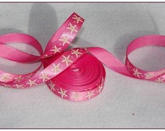1 meter of pink satin ribbon 10mm starfish
