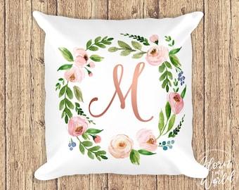 Monogram Pillow, Letter Monograms, Monogram Cushion, Floral Pillow, Initial Pillow, Floral Nursery Decor, Pillow with Letter, Rose Gold