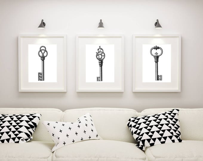 Skeleton Key Art Prints, Set of 3 Prints, Matted and Framed or Just Matted and Ready for Your Frames