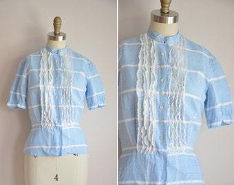 50s Plaid Metro top/ vintage 1950s blouse/ blue plaid ruffle blouse
