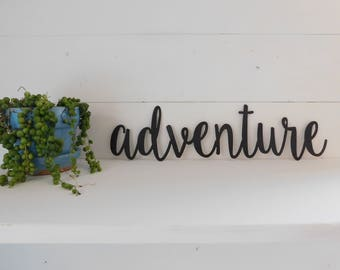 Adventure Sign, Metal Adventure Sign, Rustic Word Art Sign, Metal Word Art, Travel Decor, Gallery wall decor