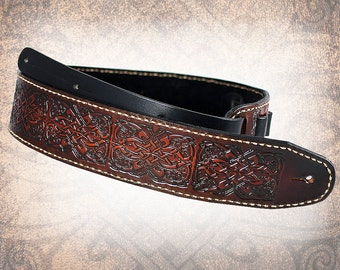 Leather Guitar Strap - Celtic Hounds