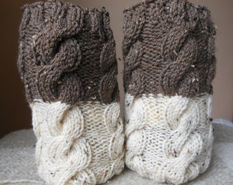 Hand Knitted Boot Cuffs Leg Warmers 2in1 Cream and Brown Tweed