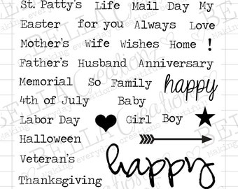 Happy Days Clear Stamp Set - Year Round Sentiments Stamps