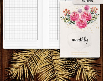 A6 inserts | Monthly planner, monthly calendar printable (A6 ring inserts, a6 rings, a6 travelers, a6 TN inserts)