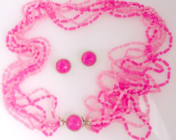 Pink Necklace, Earrings, Vintage Jewelry Gift, Multistrand Necklace, Pink Beaded Necklace, Button Earrings, Clip on Earrings