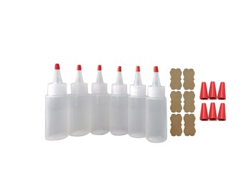 2oz Plastic Squeeze Bottles Yorker Caps 6/pk for Cake Decorating Paint Crafts Condiments - comes with Long Over Cap Replacements as bonus