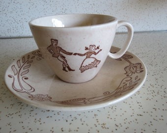 Royal China Brown County Teacup and Saucer Set