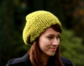 Super Chunky Slouchy Beanie, Womens Slouch Hat, Chunky Knit Hat, Fall Winter Accessories, Yellow Green