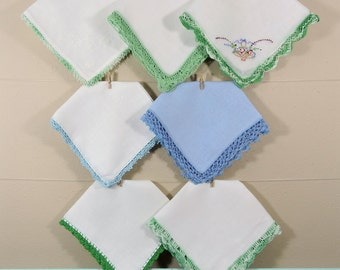 Blue Crochet Vintage Hankies / Crochet Edged Hankerchiefs / Landies Hankies