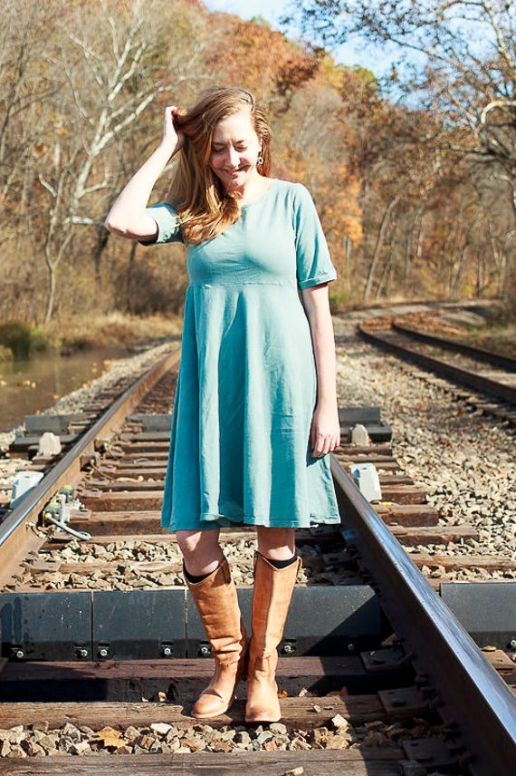 Sweetheart Dress, Organic Cotton Jersey Ruffle Dress, Eco Friendly Fair Trade Fabric Handmade Dress