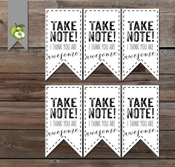 Notebook gift tag Teacher Appreciation week note book thank