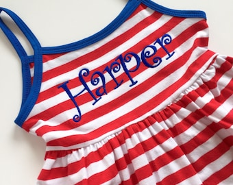 Patriotic Dress for girls in red, white and blue - Summer Dress for girls -- soft knit dress with sizes 6m to girls 8