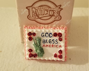 Falcon Miniatures God Bless America Sheet Cake Scale 1 12 Miniature Dollhouse Memorial Day July 4th Sheet Cake