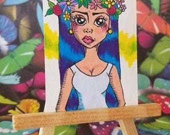ORIGINAL ACEO Artwork, Flower Girl, Miniature Art, Made in USA, Purple Hair, Flower Crown, Collectible Art, Floral Art, Horns and Roses