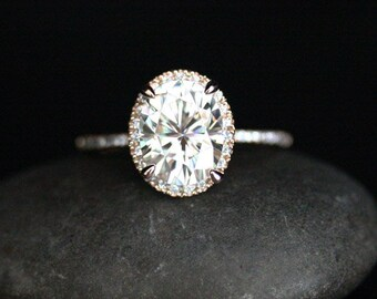 Forever Classic Oval Moissanite and Diamond Ring Engagement Ring in 14k Rose Gold with Moissanite 10x8mm and Diamonds