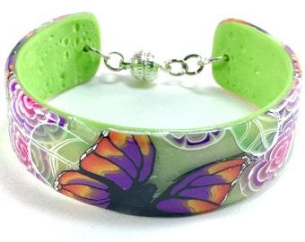 Cuff bracelet, butterfly garden cuff bracelet