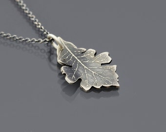 Sterling Silver Bur Oak Leaf Necklace