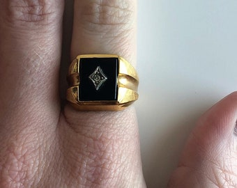 18K Gold Plated Ring, Vintage Ring, CZ Ring, Ring for Men, Ring for Women, Pinky Ring, Size 6.5 Ring, Gold Ring, Vintage, Black and Gold