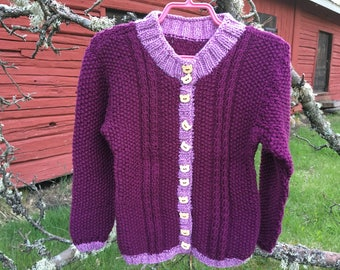 Girls knit cardigan, Knitting cardigan, Girls sweater, Handmade cardigan, Woolly cardigan, Girls cardigan, Knitted sweater