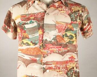 """Vintage 40s Mens Hawaiian Photo Print Shirt, Chest 40"""", Miami Beach Florida Souvenir Print, Retro Tiki Party, Mid Century Mens Fashion"""