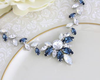 Navy Blue necklace, Bridal necklace, Bridal jewelry, White opal necklace, Statement necklace, Swarovski necklace, Crystal Wedding necklace