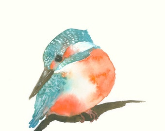 Fine Art Print from Bird Watercolor Kingfisher