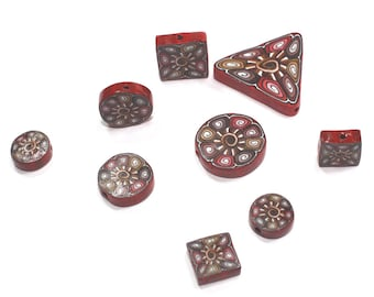9- Flat Brown Red intricate millefiori mosaic polymer clay beads for DIY jewelry, handmade unique elegant flat clay beads in assorted shapes