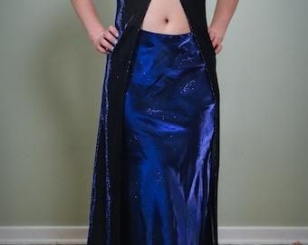 Vintage Royal Blue Iridescent  2 Piece Prom Homecoming Formal Party Dress 1990's Vintage Fashion Size L (Juniors) M/L (Women's)