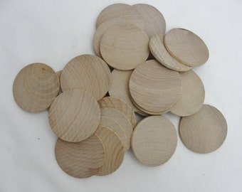 "25 Wooden Circles, 1.75 inch wooden disc, wooden disk 1 3/4"" x 1/8"" thick unfinished DIY"