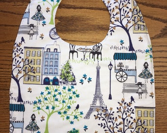 Adult Bib Paris in the Park Reversible Coordinating Navy & Lime Green, Bicycle, Eiffel Tower Print