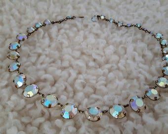 Vintage 1950's Bezel Set Aurora Borealis Rhinestone Necklace | Vintage Rhinestone Necklace | Vintage Bezel Set Necklace |