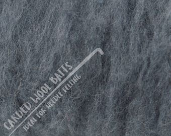 Slate Grey Carded Wool Batts For Needle Felting | 100% Sheep Wool | Needle Felting Wool | Dark Grey Animal Grey Available in Various Colours