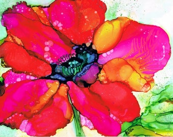 Poppy, Alcohol Ink Painting, Art Print, Red, Pink