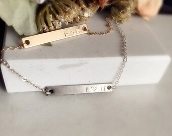 Gold  Bar sterling silver Bar Necklace,  Gold 925 silver Personalized Necklace, Monogram choker, Simple Everyday Jewelry, Valentine gift