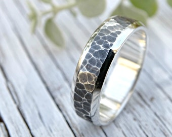 mens wedding band silver wedding ring, hammered silver ring, silver promise ring mens, cool mens ring silver, silver engagement ring modern