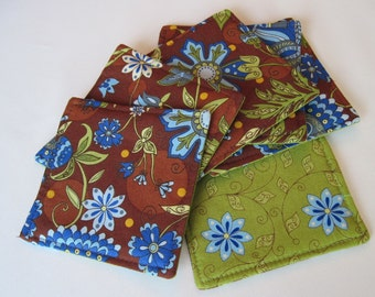 SALE Brown Paisley Coasters Set 4 or 6 Reversible Brown and Blue Coasters Green Mug Rugs Bright and Blue Lime Green Coasters Brown Coasters