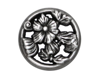 12 Ring Flower 7/8 inch ( 22 mm ) Metal Buttons Silver Color