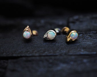 White opal in teardrop casting screw flat back cartilage stud,helix earring,lip ring,medusa piercing,conch earring