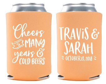 Custom Wedding Favor - Cheers to Many Years & Cold Beers Can Coolers