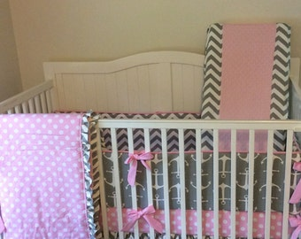 Pink and Gray Crib Bedding Ruffled with Anchors and Chevron